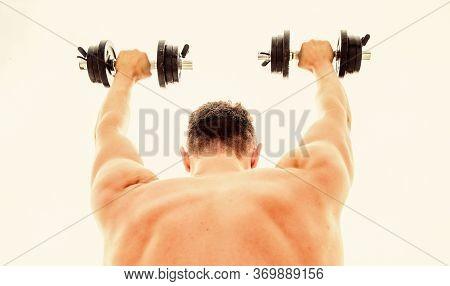 Sport Equipment. Bodybuilding Sport. Sport Lifestyle. Dumbbell Exercise Gym. Muscular Man Exercising