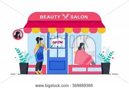 Beauty Salon. Opening After Quarantine. Woman Or Hairdresser Opens A Hair Salon After Quarantine. Ba