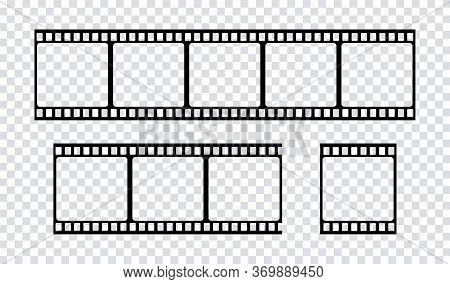 Film Strip Icon. Vector Isolated Element. Film Strip Roll Black Icon. Video Tape Photo Film Strip Fr