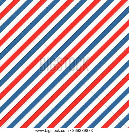 Barber Colored Liner Background. Blue Red Vector Pattern. Diagonal Stripe Pattern.