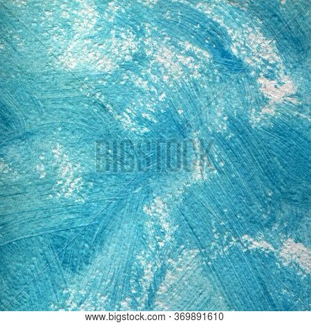 Sea Waves. Abstract Background, Hand-painted Texture, Watercolor Painting, Splashes, Drops Of Paint,