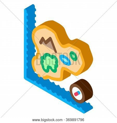 Worker Measuring Landscape Icon Vector. Isometric Engineer Human With Topography Measuring Equipment
