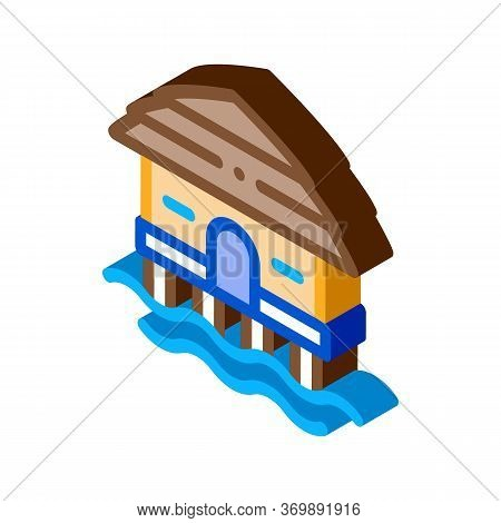 Bungalow House On Water Icon Vector. Isometric Bungalow Beach Building, Seaside Wooden Construction
