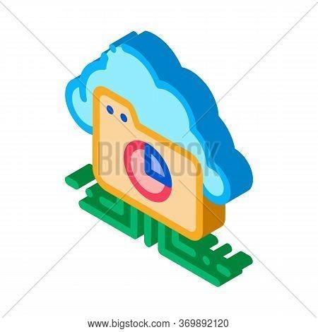 Statistician Cloud Storage Icon Vector. Isometric Statistician Diagram Folder, Internet Cloudy Stora