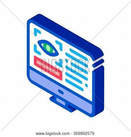Optometry Online Information Icon Vector. Isometric Eye And Info On Computer Display Optometry Info
