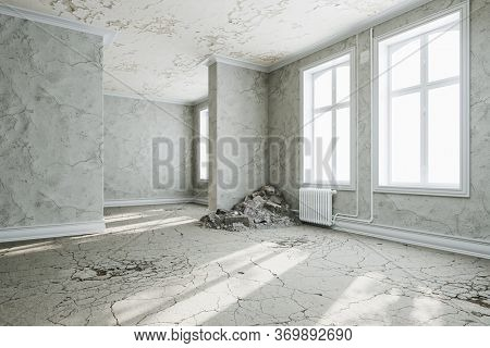 Dilapidated old building with rubble in a corner before renovation and remodeling (3D Rendering)