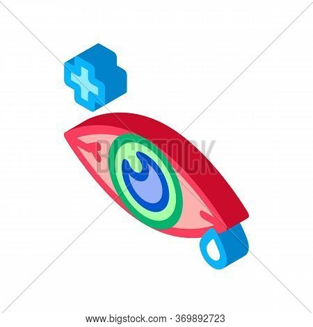 Sore Sick Tear Eye Organ Icon Vector. Isometric Viral Bacterial Infection Eye And Medical Cross Sign