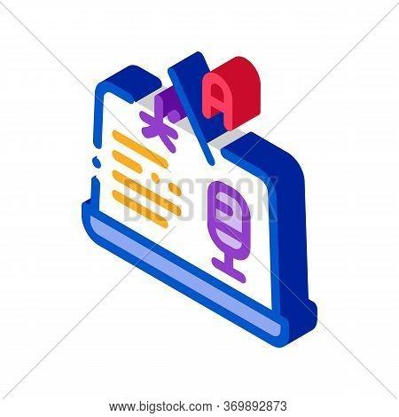 Laptop Translation Program Icon Vector. Isometric Microphone On Laptop Display, Internet Interpreter