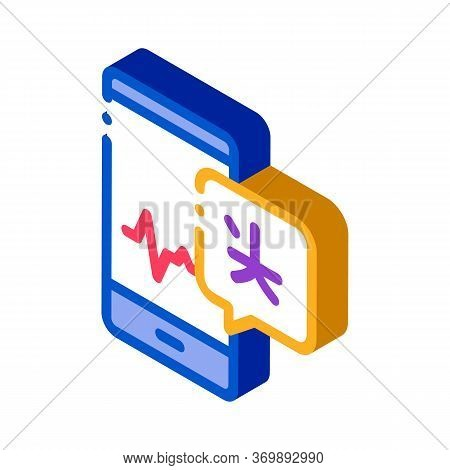 Voice Wave On Phone Screen Icon Vector. Isometric Smartphone Interpreter Sound Application For Study