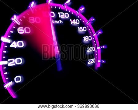 At A Speed Of 100 Kilometers Per Hour Of High Lifters Truck On Car Dashboard.concept Driving Fast I
