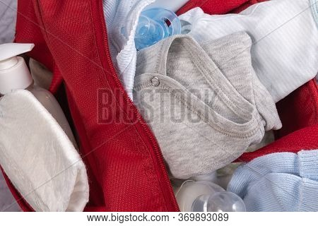 Close Up Of Diaper Bag For Baby. Accessories For The Newborn. Baby Bag For Maternity Hospital. Diape