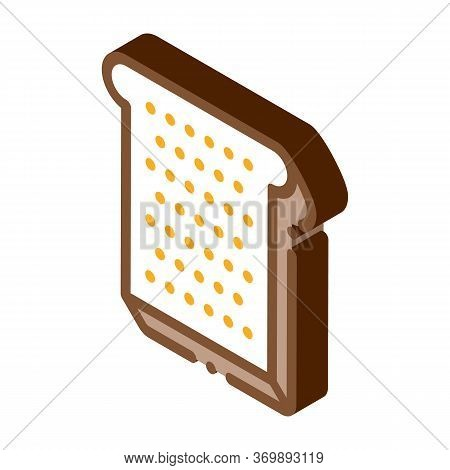 Toast Sliced Bread Piece Icon Vector. Isometric Toast For Make Sandwich Breakfast, Lunch And Dinner