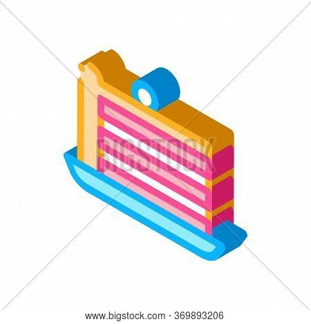 Puff Cake With Berry On Top Icon Vector. Isometric Pastry Refreshment Gourmet Cake Or Crepes Dessert