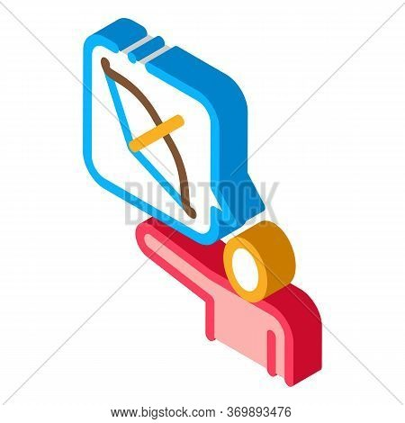 Human Talk About Archery Icon Vector. Isometric Talking Human Silhouette And Bow With Arrow In Quote