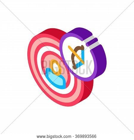 Human In Center Of Target Icon Vector. Isometric Archery Activity Sport Equipment And Human In Middl