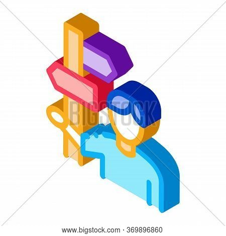 Human Post Column Icon Vector. Isometric Human Post Column Sign. Color Isolated Symbol Illustration