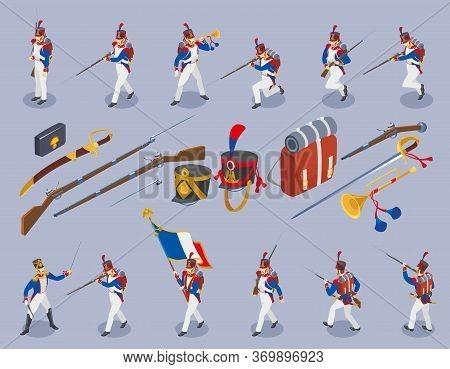 Napoleon's Grenadiers Set Isometric Icons On Isolated Background
