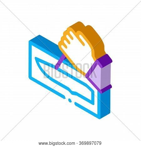 Hand Made Knife Icon Vector. Isometric Hand Made Knife Sign. Color Isolated Symbol Illustration