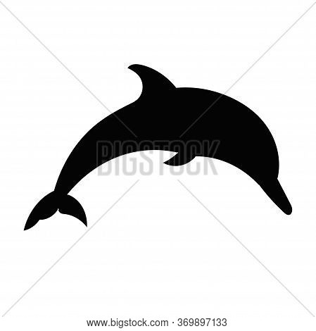 Dolphin Black Symbol Isolated On White Background.
