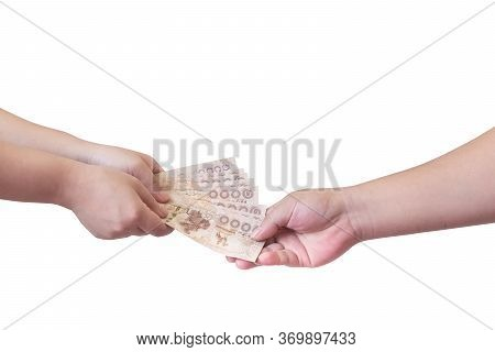 The Picture Shows The Payment Of Compensation. Or Exchange Something, Have Clipping Path.