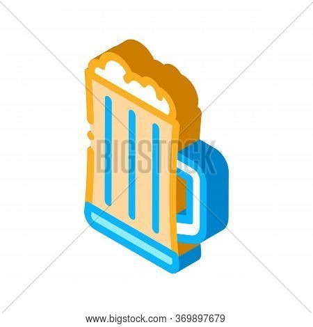 Foamy Beer Cup Icon Vector. Isometric Foamy Beer Cup Sign. Color Isolated Symbol Illustration