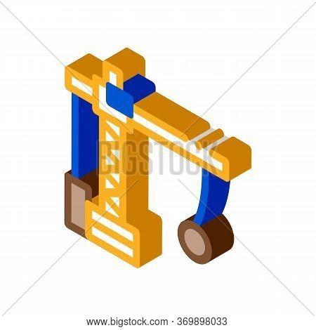 Demolition Crane Icon Vector. Isometric Demolition Crane Sign. Color Isolated Symbol Illustration