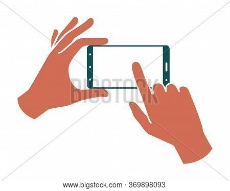 Hands Holding A Smartphone, Finger Touching The Screen. Colored Illustration On A White Background.