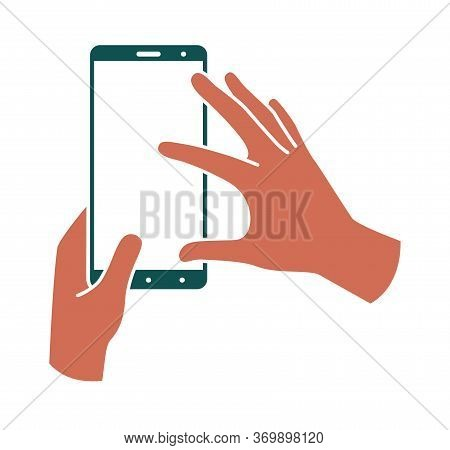 Hands Hold Smartphone Vertically, Finger Touching The Screen. Colored Illustration On A White Backgr