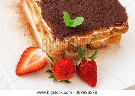 Tiramisu, Homemade Sweet Cheesecake Style Dessert, On White Plate Embellished With Fresh Mint And A