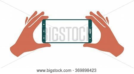 Hands Holding Smartphone On A White Background, Colored Vector Illustration.