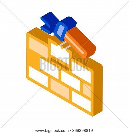 Installing Brick Icon Vector. Isometric Installing Brick Sign. Color Isolated Symbol Illustration