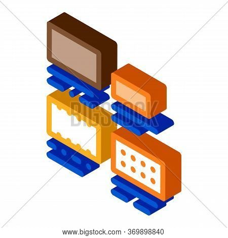 Brick Types Sizes Icon Vector. Isometric Brick Types Sizes Sign. Color Isolated Symbol Illustration