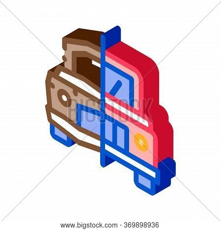 Crashed And Fixed Icon Vector. Isometric Crashed And Fixed Sign. Color Isolated Symbol Illustration