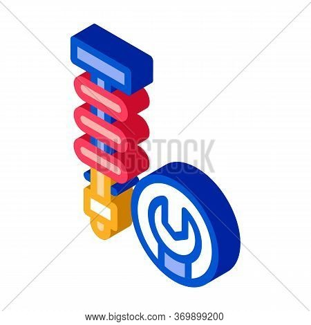 Shock Absorber Icon Vector. Isometric Shock Absorber Sign. Color Isolated Symbol Illustration