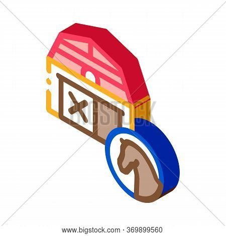 Stable Building Icon Vector. Isometric Stable Building Sign. Color Isolated Symbol Illustration