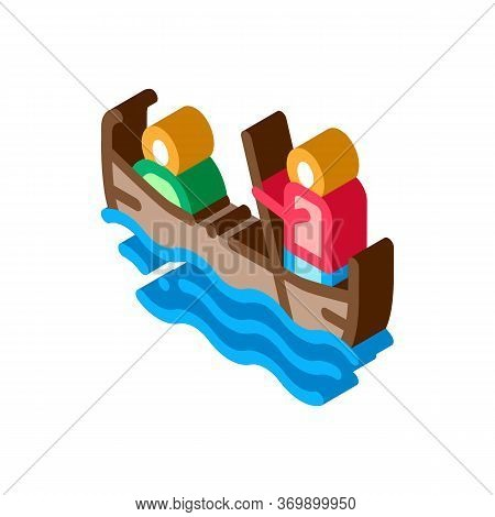 Gondola Boat Icon Vector. Isometric Gondola Boat Sign. Color Isolated Symbol Illustration