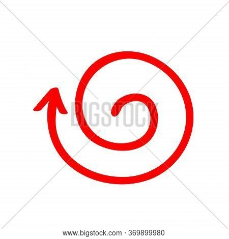 Red Arrow Vortex Sign, From Inside Direction, And Icon For Website Button Helix. Business Decoration