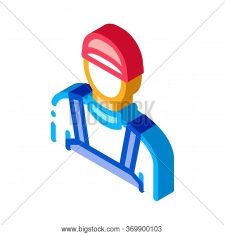 Plumber Worker Icon Vector. Isometric Plumber Worker Sign. Color Isolated Symbol Illustration