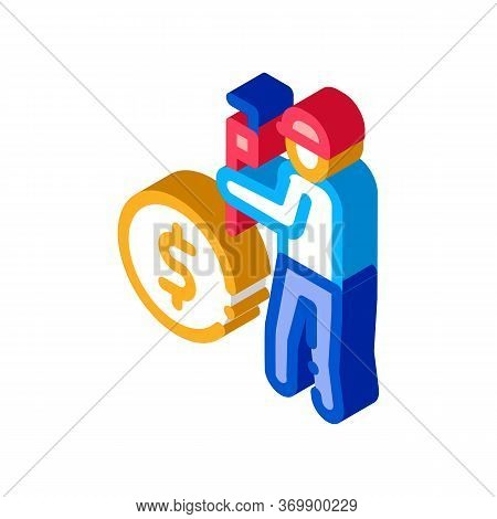 Plumber Fix Cost Icon Vector. Isometric Plumber Fix Cost Sign. Color Isolated Symbol Illustration
