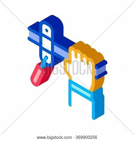 Hand Fastens Pipe Icon Vector. Isometric Hand Fastens Pipe Sign. Color Isolated Symbol Illustration