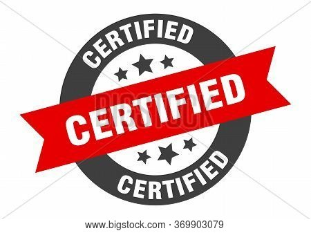 Certified Sign. Certified Black-red Round Ribbon Sticker