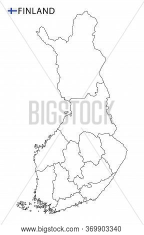 Finland Map, Black And White Detailed Outline Regions Of The Country.