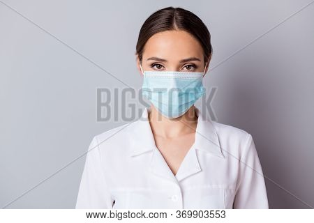Closeup Photo Of Attractive Serious Virologist Doc Lady Experienced Professional Listen Patient Wear