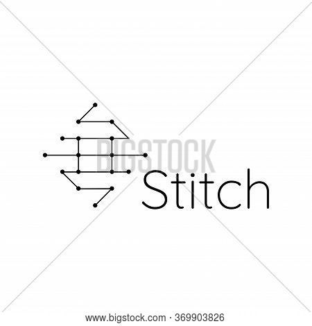 Simple Logo Design About Sewing Or Stitching, Line Art Logo