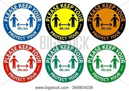 Please Keep Your Distance,protect Your Social Distancing Sign Isolate On White Background,vector Ill