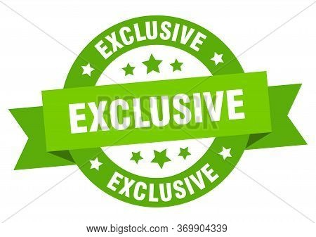 Exclusive Ribbon. Exclusive Round Green Sign. Exclusive
