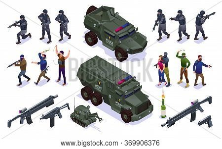 Anti Terror Special Police Forces And Terrorists Set Isometric Icons On Isolated Background