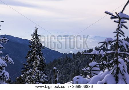 Parang Mountains Covered In Snow, On The Road To Transalpina Ski Resort, Romania