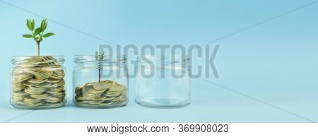 Business Concept. Gold Coins In A Transparent Bank On A Light Background. Recovery, Business Revival