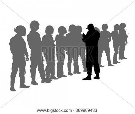 Special police forces arrested demonstrator. Isolated silhouettes of people